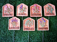 Hand Painted - Stake Herb Small Set Of 8