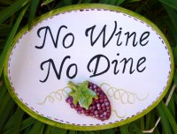 Hand Painted - Plaque No Wine No Dine Oval Small
