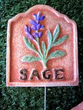 Hand Painted - Stake Herb Small Sage