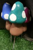 Hand Painted - Staked Mushroom Small