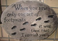 Hand Painted - Plaque When You Saw Only One Set Of Footprints It Was Then That I Caried You