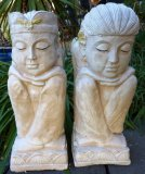 Hand Painted - Statue Balinese Figures Large Set of 2