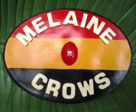 PERSONALISED - HAND PAINTED PLAQUE OVAL CROWS MEDIUM ADDED LETTERS AND FOOTBALL EMBELLISHMENT