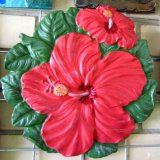 Hand Painted - Plaque Hibiscus Flower Large