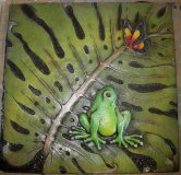Plaque - Frog With Butterfly Square Large
