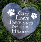 Memorial - Pet Plaque Heart Cats Leaves Paw Prints On Our Hearts