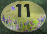Personalised - House Number Oval Medium With Cottage Flowers And Dragonfly