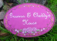 Personalised - Hand Painted Plaque Oval With Roses
