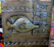 Hand Painted - Plaque Fish Plaque Scene Square
