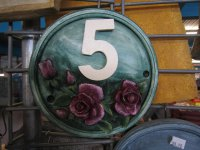 Personalised - Hand Painted Plaque Round Roses House Number