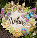 Hand Painted - Plaque Welcome Butterfly Heart Shape