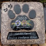 Personalised - Hand Painted Plaque Square Paw Print Large