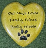 Memorial - Plaque Heart Smooth With Paw Print Indent