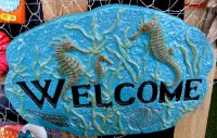Hand Painted - Plaque Seahorse Welcome