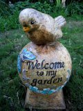 Hand Painted - Statue Bird On Ball Welcome