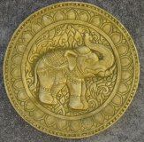 Plaque - Elephant Indian Round