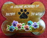Personalised - Pet Memorial Plaque Bone With Paw Print