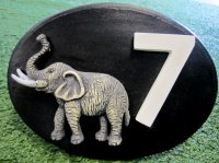 Personalised - Hand Painted House Number Elephant Oval Small