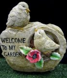 Hand Painted - Statue Birds On Rock Welcome To My Garden